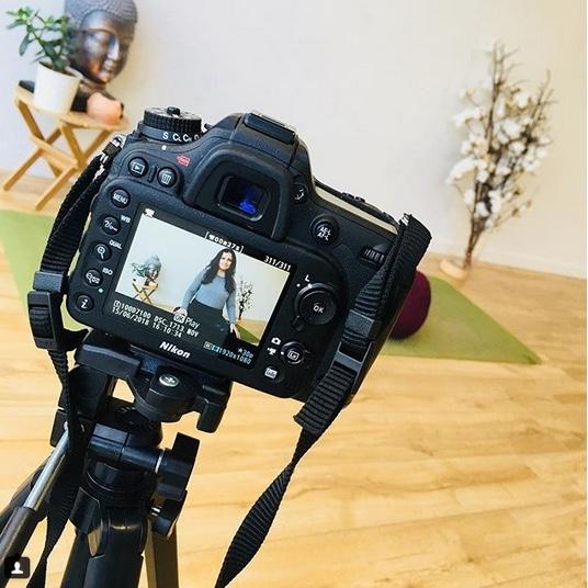 Natalie from Living Flow being filmed on Slr
